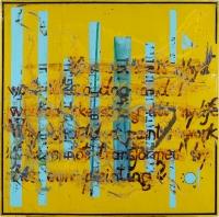 1998, Abschliff und Übermalung von Verkehrsschild, 125 x 125 cm