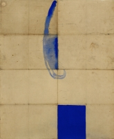 Öl auf Rückseite von Landkarte, 70 x 84 cm