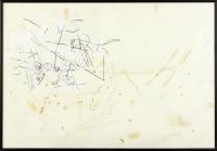 Kohle, Deckweiß, Papierstreifen, Öl auf Karton, 68 x 98 cm
