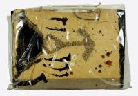 3Bilder und 4 Umschlagseiten bemalt,1990, Hornspäne, Ölkreide, Gouache, 53 x 74 cm