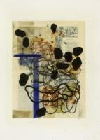 1995, Enkaustik über Buchdruck, Schellack, Tusche, Büttenpapier, 56 x 78 cm