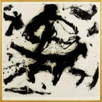 1996, schwarze Ölfarbe auf Reispapier, 102 x 102 cm